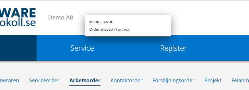 Order skapad i fortnox