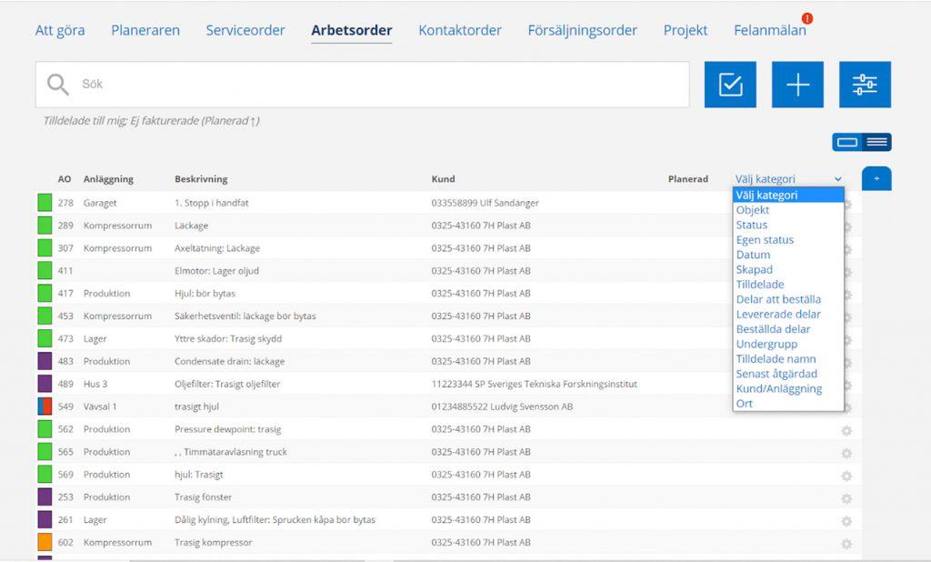 En skärmdump på en lista på ordrar