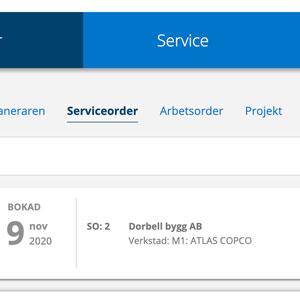 Bild på systemet där man hittar sina serviceordrar och arbetsordrar.