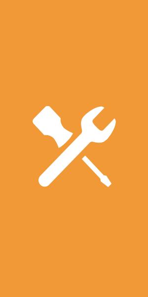 Symbolen för arbetsorder - en skruvmejsel och en skiftnyckel