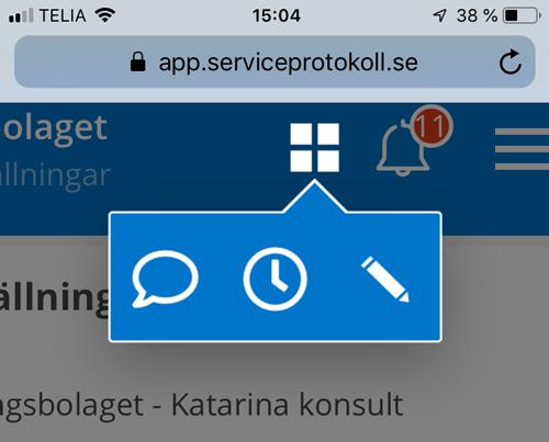 """På en mobil enhet hittar du dessa tre symboler under """"fönstret"""" - chat, timer, anteckningar"""