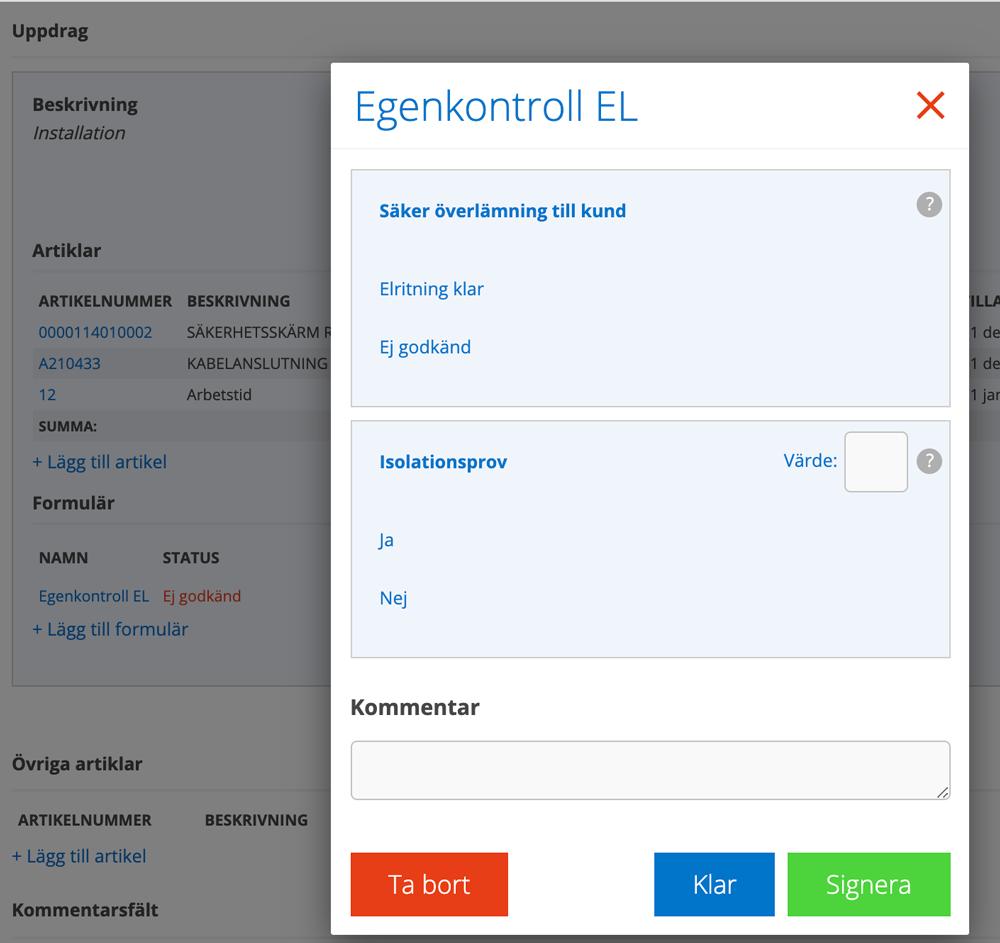 Exempel på formulär för egenkontroll